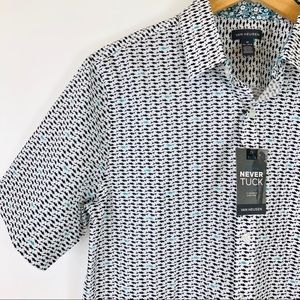 Van Heusen Shirts - NWT Van Heusen Slim Never Tuck Shark Print Shirt M